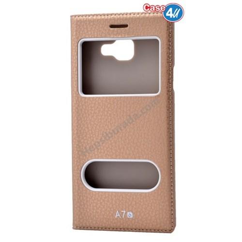 Case 4U Samsung A710 Galaxy A7 Dolce Kapaklı Kılıf Altın