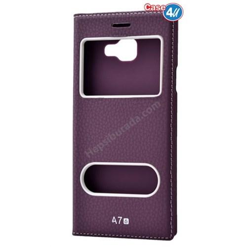 Case 4U Samsung A710 Galaxy A7 Dolce Kapaklı Kılıf Mor