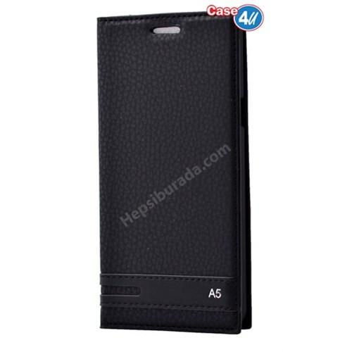 Case 4U Samsung A510 Galaxy A5 Gizli Mıknatıslı Kapaklı Kılıf Siyah