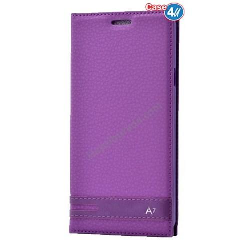 Case 4U Samsung A710 Galaxy A7 Gizli Mıknatıslı Kapaklı Kılıf Mor