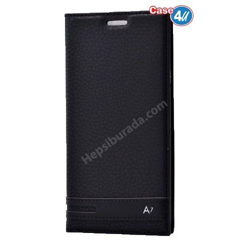 Case 4U Samsung A710 Galaxy A7 Gizli Mıknatıslı Kapaklı Kılıf Siyah