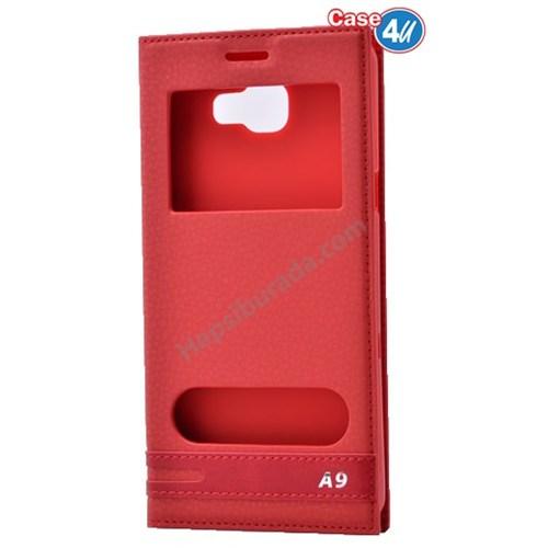 Case 4U Samsung Galaxy A9 (2016) Pencereli Kılıf Kırmızı