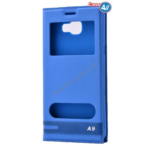 Case 4U Samsung Galaxy A9 (2016) Pencereli Kılıf Mavi