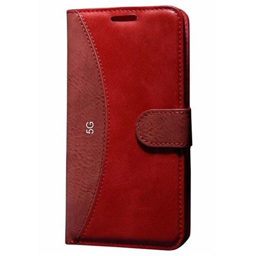 Cep Market Apple İphone 5/5S Kılıf Standlı Cüzdan - Kırmızı