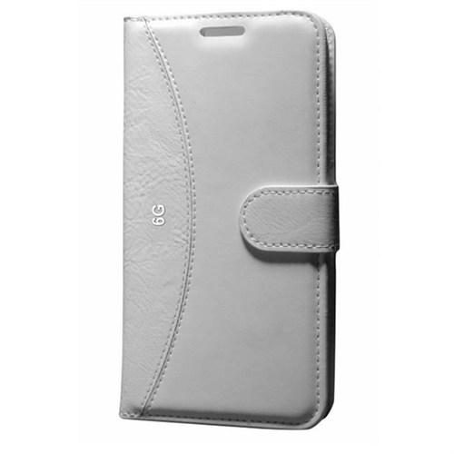 Cep Market Apple İphone 6/6S Kılıf Standlı Cüzdan - Beyaz