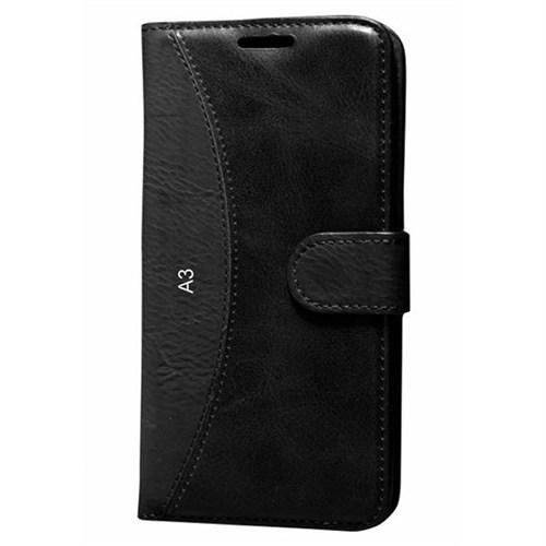 Cep Market Samsung Galaxy A3 Kılıf Standlı Cüzdan (Siyah)