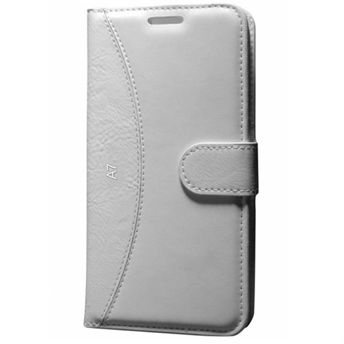 Cep Market Samsung Galaxy A7 Kılıf Standlı Cüzdan (Beyaz)