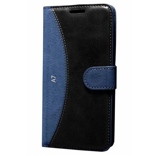 Cep Market Samsung Galaxy A7 Kılıf Standlı Cüzdan (Lacivert)