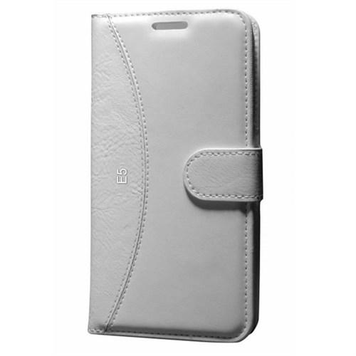 Cep Market Samsung Galaxy E5 Kılıf Standlı Cüzdan (Beyaz)