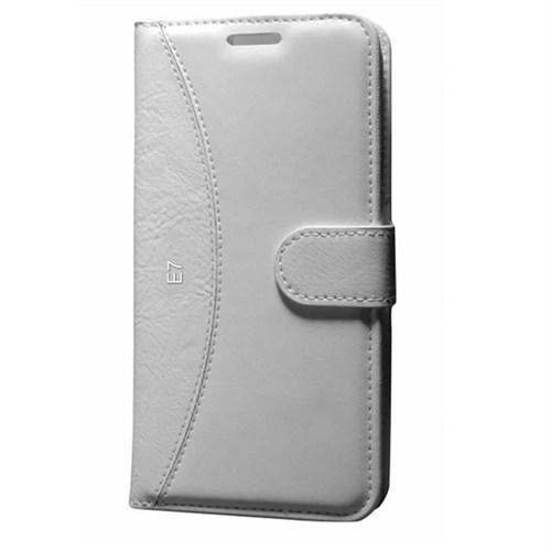 Cep Market Samsung Galaxy E7 Kılıf Standlı Cüzdan (Beyaz)