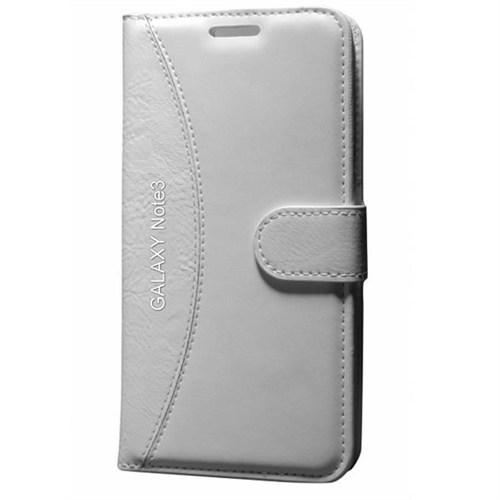 Cep Market Samsung Galaxy Note 3 Kılıf Standlı Cüzdan (Beyaz)