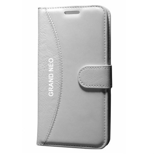 Cep Market Samsung Galaxy Grand Neo Kılıf Standlı Cüzdan (Beyaz)