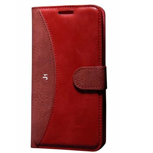 Cep Market Samsung Galaxy J1 Kılıf Standlı Cüzdan (Kırmızı)