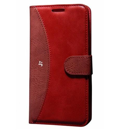 Cep Market Samsung Galaxy J7 Kılıf Standlı Cüzdan (Kırmızı)