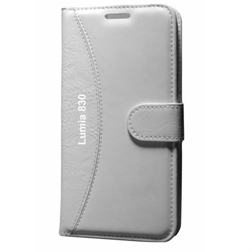 Cep Market Nokia Lumia 830 Kılıf Standlı Cüzdan (Beyaz)