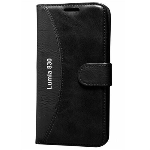 Cep Market Nokia Lumia 830 Kılıf Standlı Cüzdan (Siyah)