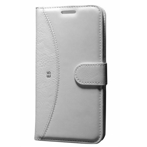 Cep Market Sony Xperia M4 Aqua Kılıf Standlı Cüzdan (Beyaz)