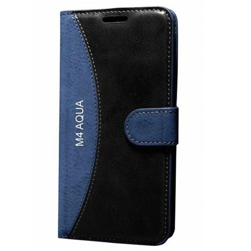 Cep Market Sony Xperia M4 Aqua Kılıf Standlı Cüzdan (Lacivert)