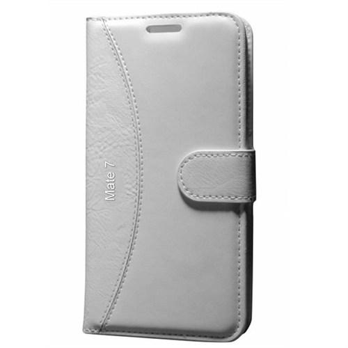 Cep Market Huawei Mate 7 Kılıf Standlı Cüzdan (Beyaz)