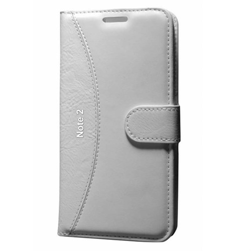 Cep Market Samsung Galaxy Note 2 Kılıf Standlı Cüzdan (Beyaz)