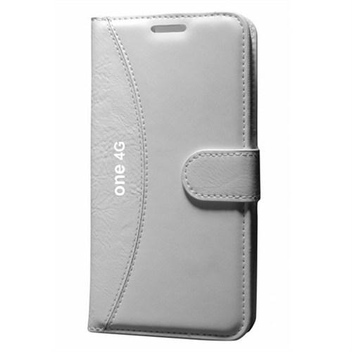 Cep Market General Mobile 4G Kılıf Standlı Cüzdan (Beyaz)