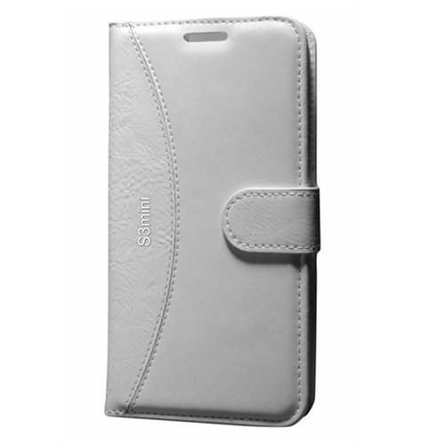Cep Market Samsung Galaxy S3 Mini Kılıf Standlı Cüzdan (Beyaz)