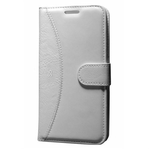 Cep Market Samsung Galaxy S5 Kılıf Standlı Cüzdan (Beyaz)