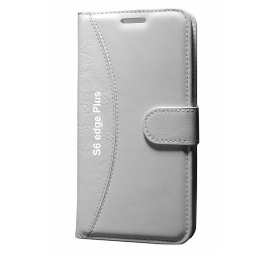 Cep Market Samsung Galaxy S6 Edge Plus Kılıf Standlı Cüzdan (Beyaz)