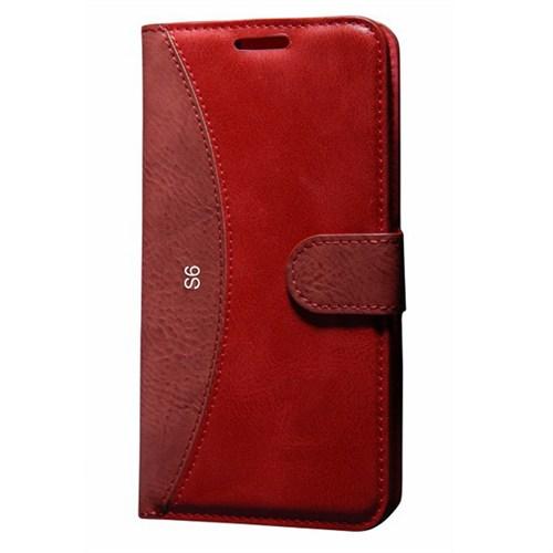 Cep Market Samsung Galaxy S6 Kılıf Standlı Cüzdan (Kırmızı)
