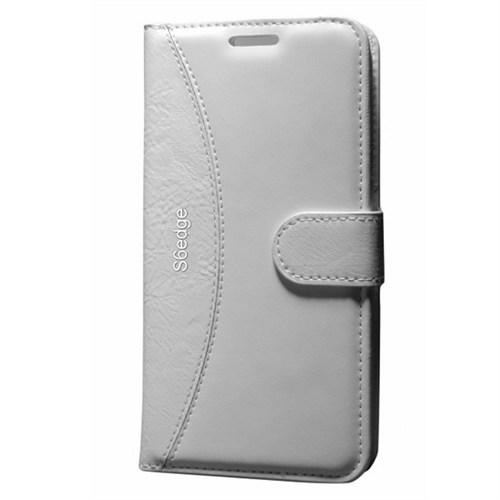 Cep Market Samsung Galaxy S6 Edge Kılıf Standlı Cüzdan (Beyaz)