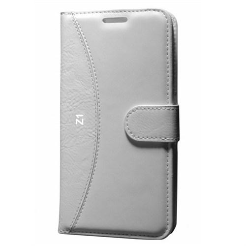 Cep Market Sony Xperia Z1 Kılıf Standlı Cüzdan (Beyaz)