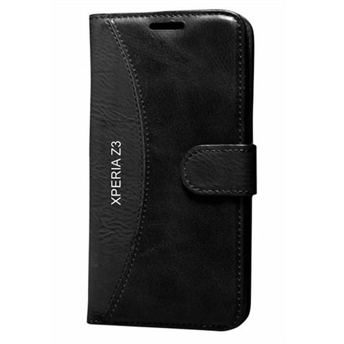 Cep Market Sony Xperia Z3 Kılıf Standlı Cüzdan (Siyah)