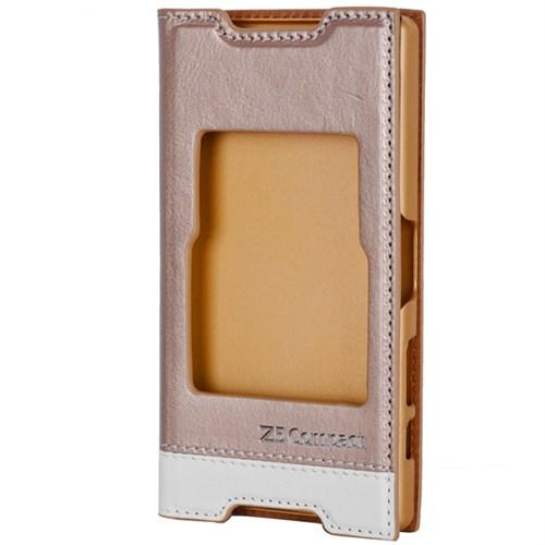 Cep Market Sony Xperia Z5 Compact Kılıf Pencereli Milano (Gold)