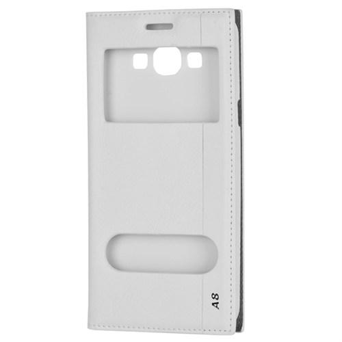 Cep Market Samsung Galaxy A8 Kılıf Pencereli Milano (Beyaz)