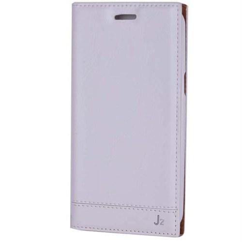 Cep Market Samsung Galaxy J2 Kılıf Kapaklı Milano (Beyaz)