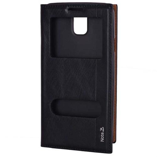 Cep Market Samsung Galaxy Note 3 Kılıf Pencereli Milano (Siyah)