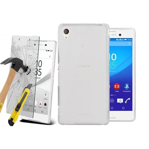 Kılıfshop Sony Xperia Z2 0,2Mm Silikon Kılıf - Beyaz + Kırılmaz Ekran Koruyucu