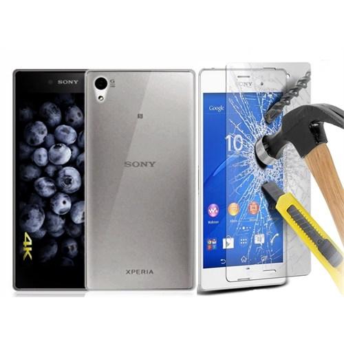 Kılıfshop Sony Xperia Z3 0,2Mm Silikon Kılıf - Siyah + Kırılmaz Ekran Koruyucu