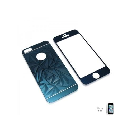 Glass Apple İphone 5 / 5S Aynalı Desenli Renkli Kırılmaz Cam Ekran Koruyucu Film