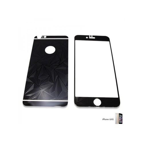 Glass Apple İphone 6 / 6S Aynalı Desenli Renkli Kırılmaz Cam Ekran Koruyucu Film