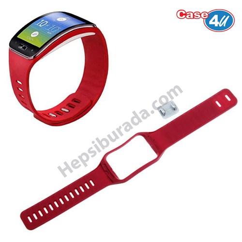 Case 4u Samsung Galaxy Gear S SM R750 Silikon Kayış Kırmızı