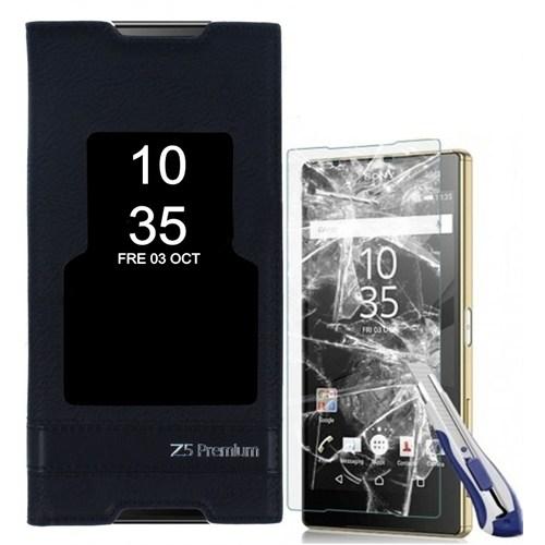 Kılıfshop Sony Xperia Z5 Premium Pencereli Magnum Kılıf (Siyah) + Kırılmaz Ekran Koruyucu