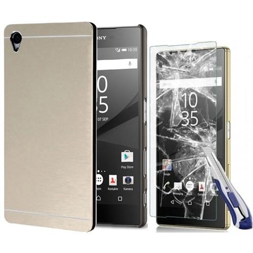Kılıfshop Sony Xperia Z5 Premium Metal Kılıf (Gold) + Kırılmaz Ekran Koruyucu