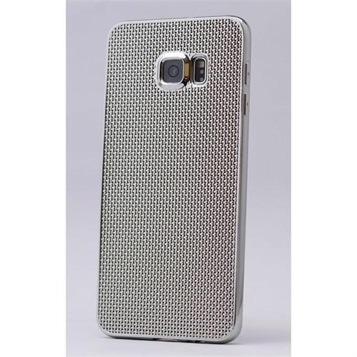 Kılıfshop Samsung Galaxy S6 Edge Plus Silikon Kılıf Hasır Desenli (Beyaz)