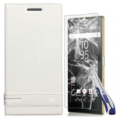 Kılıfshop Sony Xperia Z5 Kapaklı Magnum Kılıf (Beyaz) + Kırılmaz Ekran Koruyucu