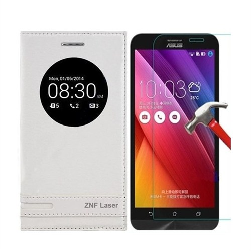 Kılıfshop Asus Zenfone 2 Laser Ze500kl Pencereli Magnum Kılıf Beyaz + Kırılmaz Ekran Koruyucu