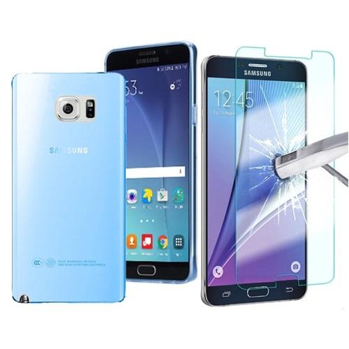 Kılıfshop Samsung Galaxy Note 5 Silikon Kılıf Mavi + Kırılmaz Ekran Koruyu