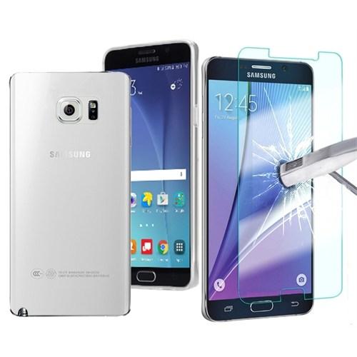 Kılıfshop Samsung Galaxy Note 5 Silikon Kılıf Şeffaf + Kırılmaz Ekran Koruyu