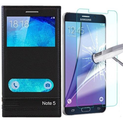 Kılıfshop Samsung Galaxy Note 5 Çift Pencereli Magnum Kılıf Siyah + Kırılmaz Ekran Koruyucu