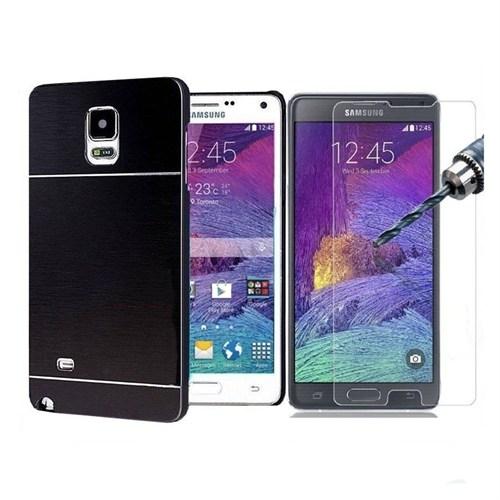 Kılıfshop Samsung Galaxy Note 4 Metal Kılıf Ve Kırılmaz Ekran Koruyucu